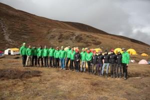 Forscher crew im Basecamp angekommen