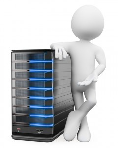 3D white people. System administrator with a server