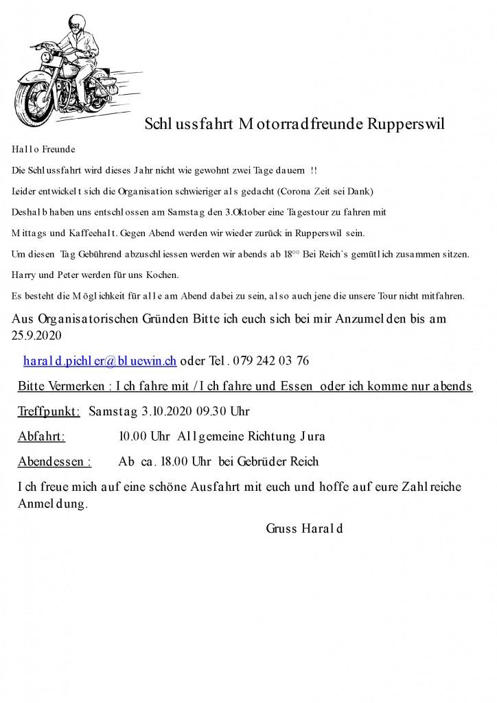 Schlussfahrt Motorradfreunde Rupperswil 2020